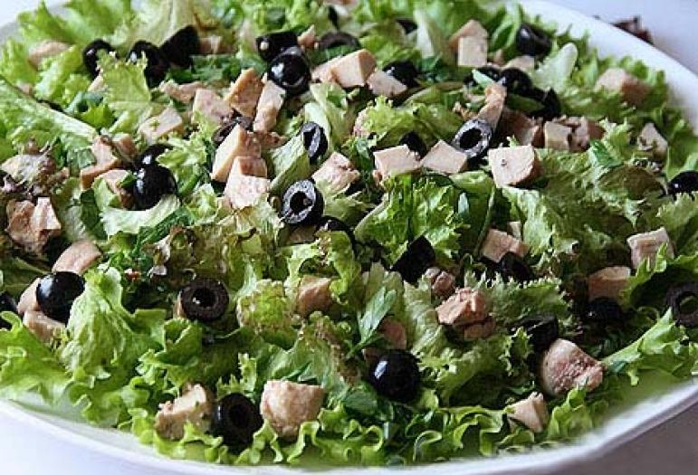 Салат из печени с зеленью